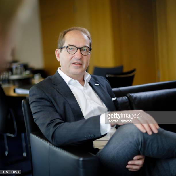 The parliamentary group leader of the conservative CSU Alexander Dobrindt gesture during an interview in his office on June 13 2019 in Berlin Germany