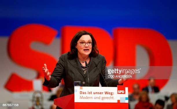The parliamentary group leader of the Social Democratic Party Andrea Nahles delivers a speech during a party congress of Germany's Social Democrats...