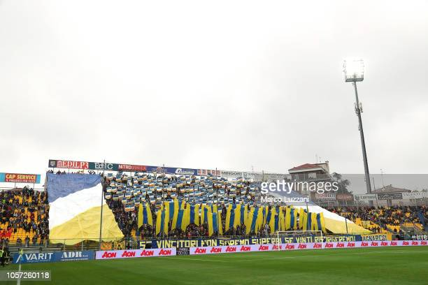 The Parma Calcio fans show their support before the Serie A match between Parma Calcio and Frosinone Calcio at Stadio Ennio Tardini on November 4...