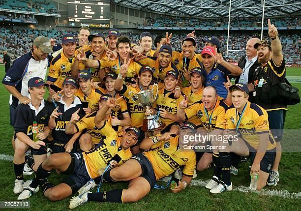 The Parramatta Eels celebrate winning the 2006 Premier League Grand Final between the Parramatta Eels and the Newtown Jets at Telstra Stadium October...