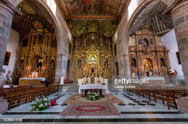 The Parroquia de San Francisco de Asís Church is seen from inside in Santa Cruz de Tenerife on August 20 2018 in Tenerife Spain This church was...