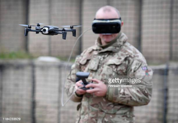 The Parrot Anafi UAS UAV or drone is flown by a soldier as the British Army demonstrate the latest and future technology used on operations across...
