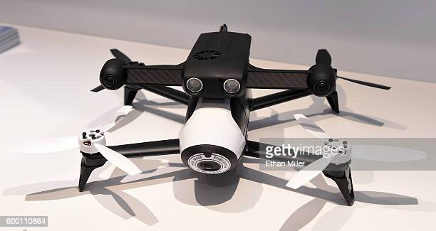 The Parrot SLAMdunk is displayed attached to a Parrot Bebop 2 drone at InterDrone an international drone conference and exposition for commercial...