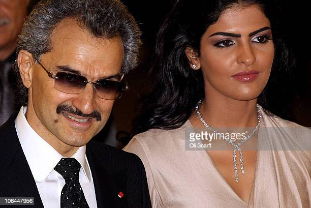 The part owner of The Savoy HRH Prince Alwaleed Bin Talal Bin Abdulaziz Alsaud and his wife Princess Amira arrive to greet the Prince of Wales as he...