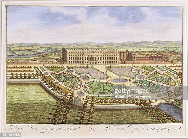 The parterres in the foreground were designed by Daniel Marot for William III the grand layout was begun earlier for Charles II