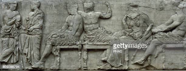 The Parthenon frieze East side 447432 BC Greek Classical period Central section of the east frieze Zeus and Hera seated next to a standing man...