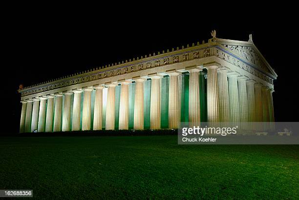The Parthenon in Nashville, Tennessee illuminated at night.