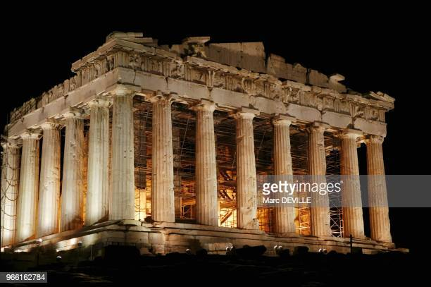 The Parthenon lit by French Pierre Bideau on the Acropolis