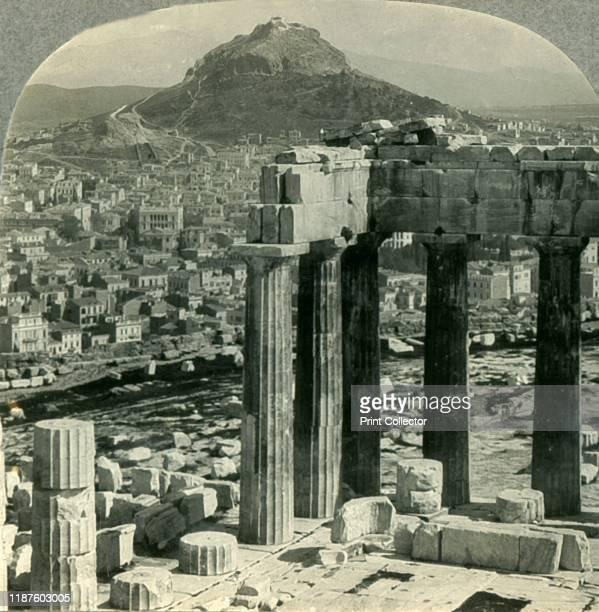 The Parthenon on the Acropolis View NE over Athenai to Mount Lycabettus Greece' circa 1930s 5th century BC doric temple to the goddess Athena From...