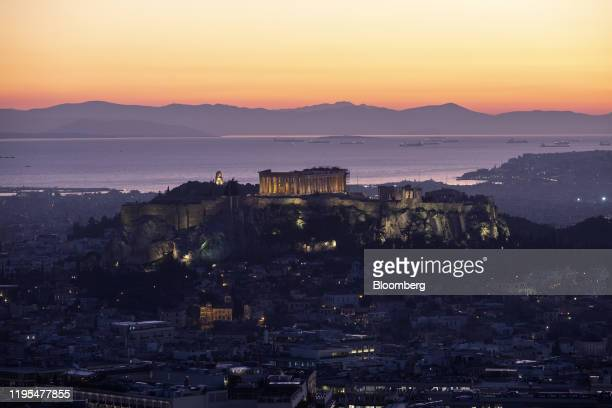 The Parthenon temple stands on Acropolis hill in Athens, Greece, on Wednesday, Jan. 22, 2020. After implementing three bailout programs during a...