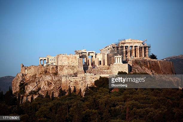 The Parthenon temple stands on Acropolis Hill in Athens Greece on Tuesday Aug 20 2013 A third aid program for Greece announced by German Finance...