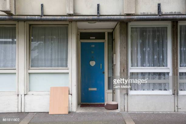 The partially derelict Robin Hood Gardens estate on 20th May 2016 in Poplar London United Kingdom Designed in the late 1960s by Alison and Peter...
