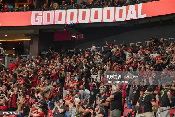 The partially-filled Atlanta crowd celebrates a second-half goal during the MLS match between Chicago Fire FC and Atlanta United FC on April 24th,...