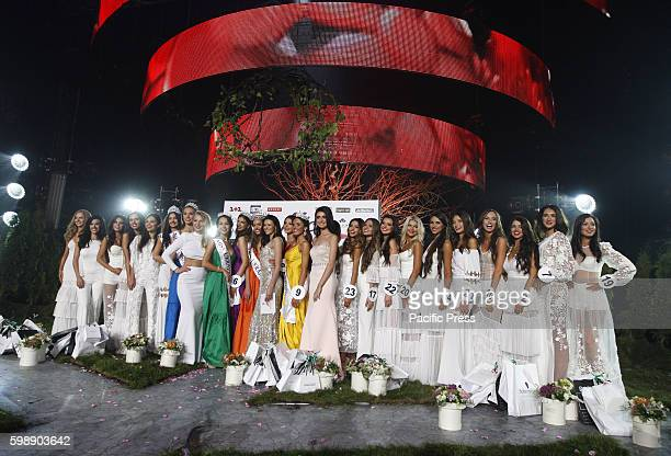 The participants of beauty contest Miss Ukraine Earth 2016 pose during the galaThe winner of the Miss Ukraine2016 beauty contest Olexandra Kucherenko...