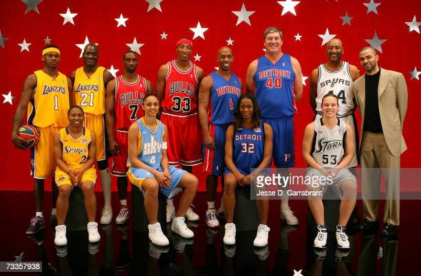 The participants of the Haier Shooting Stars pose for a photo at NBA AllStar Weekend on February 17 2007 at the Thomas Mack Center in Las Vegas...