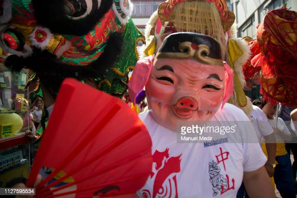 The participants parade as part of the Chinese New Year celebrations at Capón street on February 5 2019 in Lima Peru Peru celebrates the...