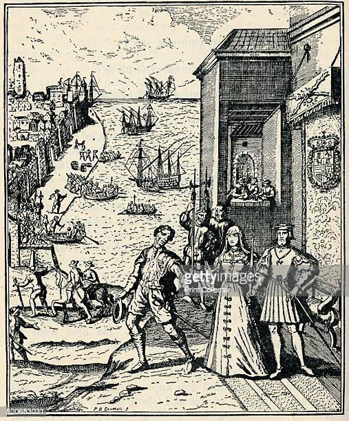 The Parting of Columbus with Ferdinand and Isabella 3rd August 1492 Queen Isabella I of Castile and King Ferdinand II of Aragon helped fund...