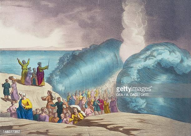 The parting of the Red Sea illustration of the Old Testament the end of the 19th century engraving by Bequet Delagrave edition Paris