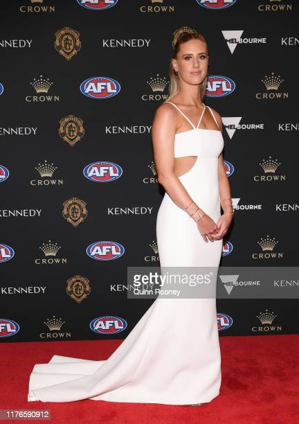 The partner of James Sicily arrives ahead of the 2019 Brownlow Medal at Crown Palladium on September 23 2019 in Melbourne Australia