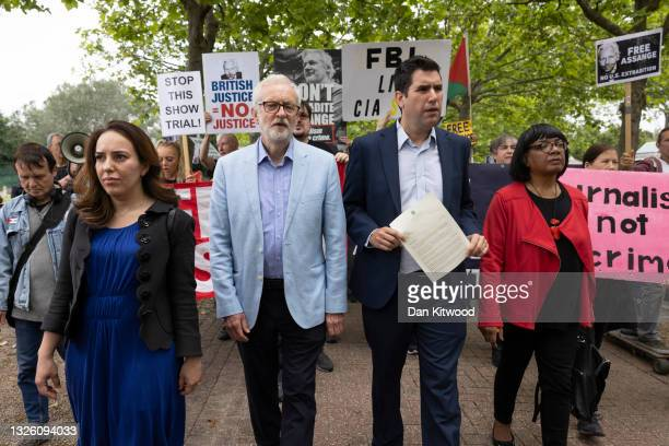 The partner of Julian Assange , Stella Morris is joined by a group of cross party Mp's including Richard Burgon, Diane Abbot, and former Labour...
