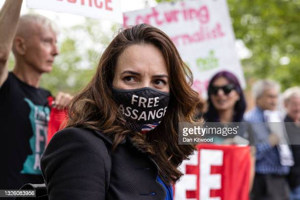 The partner of Julian Assange, Stella Morris joins protesters and a group of cross party Mp's outside Belmarsh Prison on June 29, 2021 in London,...