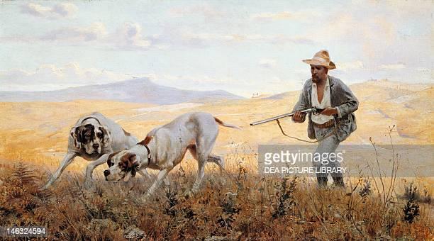 The partridge hunt near Ceppato Eugenio Cecconi oil on canvas 55x100 cm