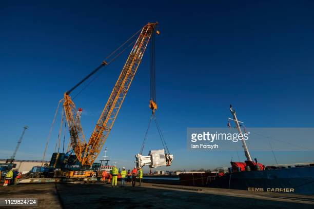 The parts to construct the Sirius Minerals Tunnel Boring Machine is unloaded after arriving by ship from Rotterdam at the AV Dawson logistics site on...