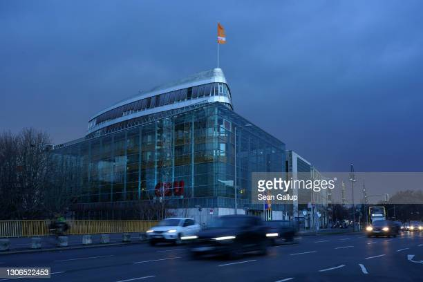 The party headquarters of the German Christian Democrats stand prior to a thunderstorm on March 11, 2021 in Berlin, Germany. The CDU is struggling to...