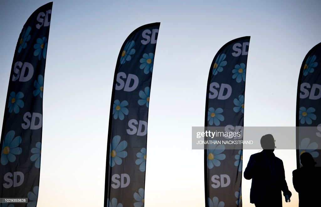 TOPSHOT - The party leader of the far-right Sweden Democrats, Jimmie Akesson, gives a speech during a campaign meeting in Stockholm, Sweden September 8, 2018. - Sweden holds legislative elections on Sunday, September 9, 2018, with polls predicting a parliamentary deadlock as neither Prime Minister Stefan Lofven's left-wing bloc nor the opposition centre-right are seen winning a majority, while the far-right makes gains. (Photo by Jonathan NACKSTRAND / AFP) / The erroneous mention[s] appearing in the metadata of this photo by Jonathan NACKSTRAND has been modified in AFP systems in the following manner: [removing restrictions, source is AFP]. Please immediately remove the erroneous mention[s] from all your online services and delete it (them) from your servers. If you have been authorized by AFP to distribute it (them) to third parties, please ensure that the same actions are carried out by them. Failure to promptly comply with these instructions will entail liability on your part for any continued or post notification usage. Therefore we thank you very much for all your attention and prompt action. We are sorry for the inconvenience this notification may cause and remain at your disposal for any further information you may require.