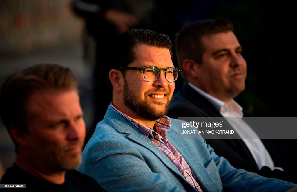 The party leader of the far-right Sweden Democrats, Jimmie Akesson, sits on a bench before a campaign meeting in Stockholm, Sweden September 8, 2018.