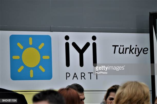 The party logo is displayed on a campaign bus as Turkey's opposition IYI Party holds a 'Communicate Together' event to help people's problems in...