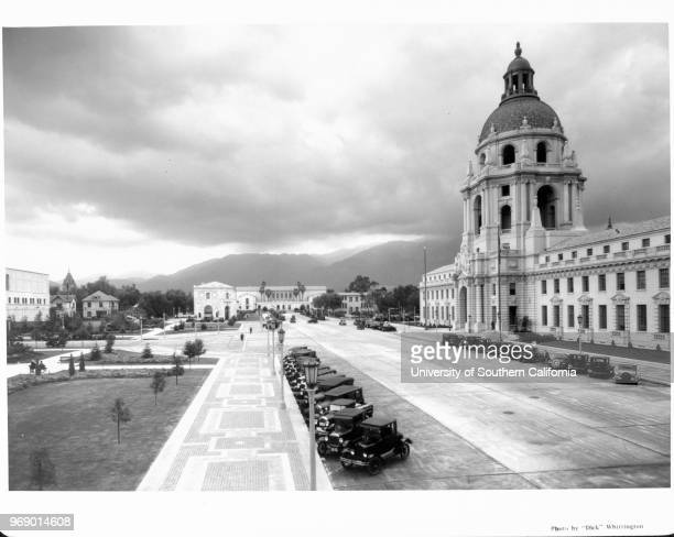 The Pasadena City Hall seen along with other buildings on the Civic Center Pasadena California early to mid twentieth century