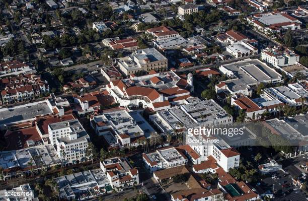 The Paseo Nuevo shopping mall in downtown is viewed in this aerial photo on February 23 in Santa Barbara California A combined series of natural...