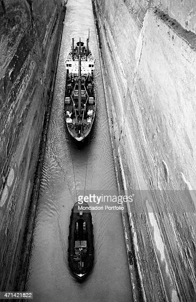 The passage of two boats in the historical restricted maritime space Corinth 23rd April 1962