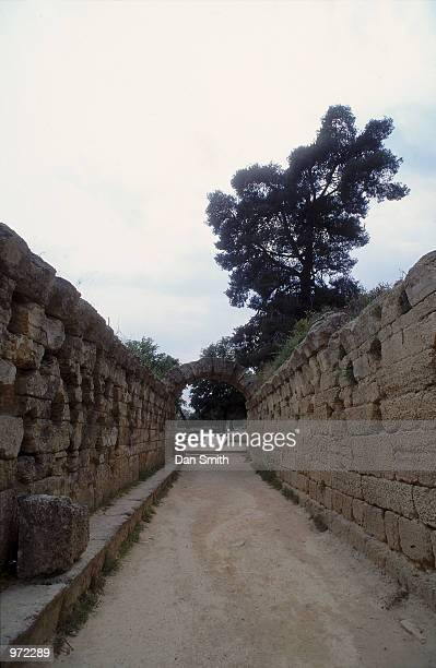 The passageway leading to the stadium at the site of the Ancient Olympic Games in Olympia in Greece