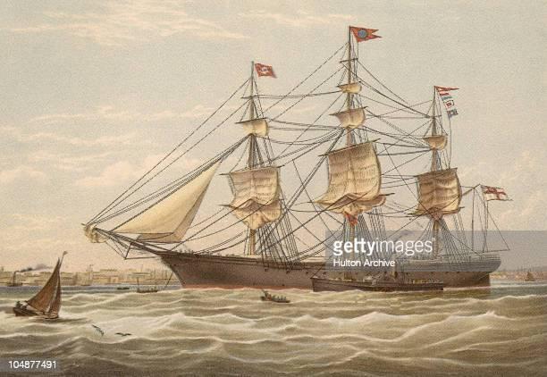 The passenger clipper ship 'James Baines' circa 1855