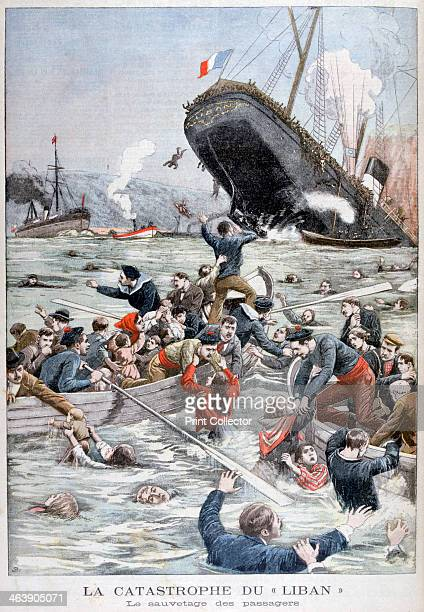 The passenger liner 'Liban' sinking after colliding with another ship 1903 On the 7th June 1903 the 'Liban' was rammed and sunk off Marseilles by the...