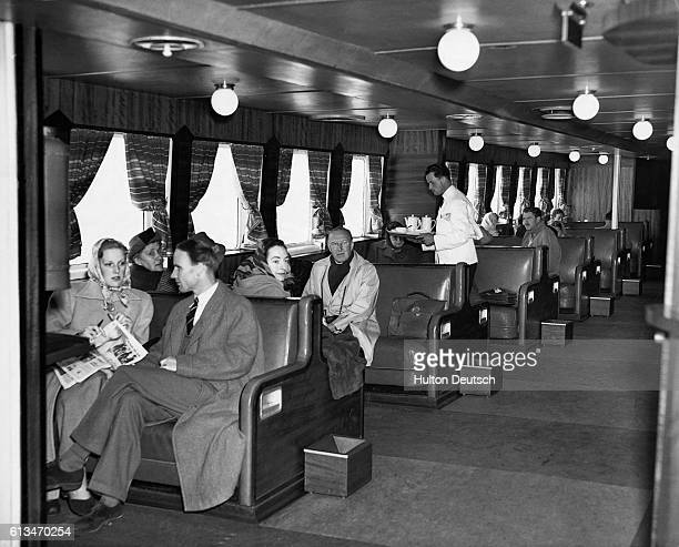 The passenger lounge of the cross channel car ferry Dinard.