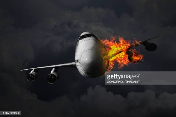 the passenger plane that caused the engine fire accident while flying in the sky - airplane crash stock pictures, royalty-free photos & images