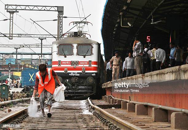 The passenger train sets off during the trial run of a 'semibullet train' between New Delhi and Agra from New Delhi railway station on June 3 2014 in...