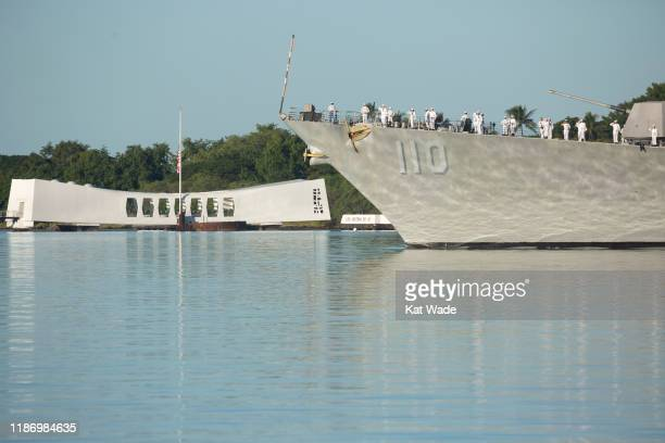 The Pass-in-Review by the USS William P. Lawrence as Pearl Harbor Commemorates the 78th Anniversary Of World War II Attacks at the Pearl Harbor...