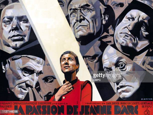 The Passion Of Joan Of Arc poster center Maria Falconetti on French poster art 1928