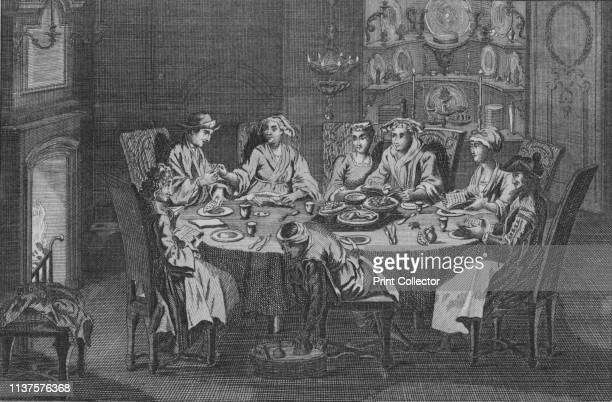 The Passover of the Portuguese Jews' circa 1730s Family eating the Passover Seder A list of the dishes 1 shoulder of lamb with hardboiled egg 2...