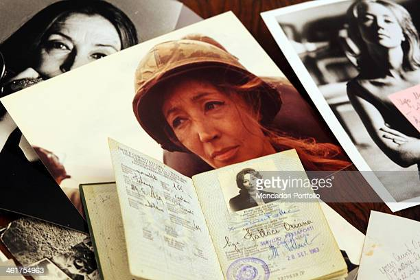 The passport and some documents belonging to the writer and journalist Oriana Fallaci kept at home by Edoardo Perazzi writer's nephew and sole heir...