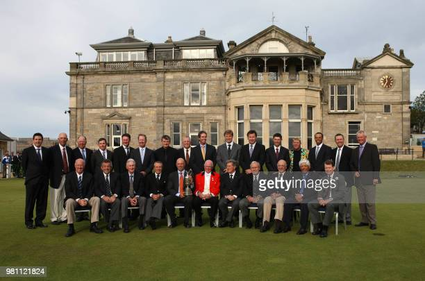 The past 26 Champions from the Open with the RA captain pose for a photograph in front of the RA Clubhouse on the Old Course ahead of the 2010 Open...