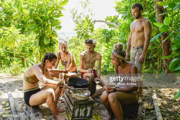 'The Past Will Eat You Alive' Roark Luskin Chrissy Hofbeck Ryan Ulrich Ali Elliott and John 'JP' Hilsabeck on the fifth episode of SURVIVOR 35 themed...