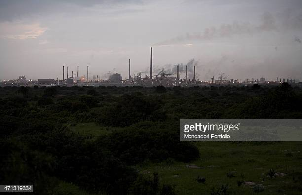 The pastures of the Masseria il Carmine nearby the Ilva iron and steel plant in Taranto during a photo shooting The Fornaro family the owners of the...