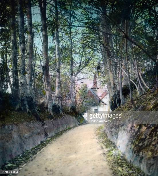 The path Hohle Gasse connects the towns of Kuessnacht and Immensee at canton Schwyz in Switzerland ca 1910s