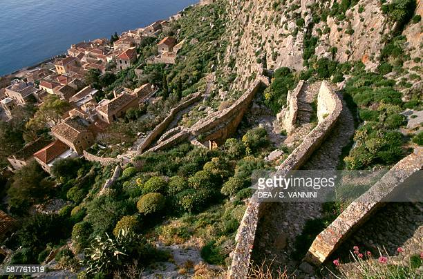 The path leading to the fortress of Monemvasia Peloponnese Greece