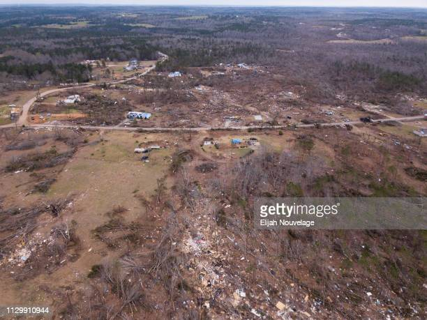The path of an EF4 tornado is seen from the sky using a drone on March 11 2019 in Beauregard Alabama Numerous tornado touchdowns were reported in...